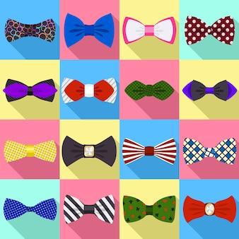 Conjunto de ícones de gravata borboleta. conjunto plano de vetor bowtie
