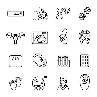 Conjunto de ícones de gravidez e bebê recém-nascido