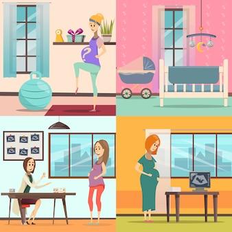 Conjunto de ícones de gravidez