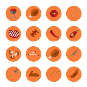 Conjunto de ícones de grelha de churrasco