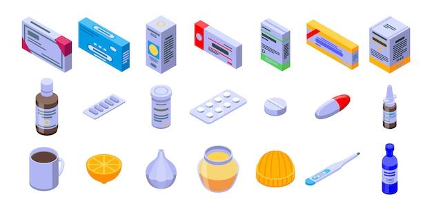 Conjunto de ícones de gripe, estilo isométrico