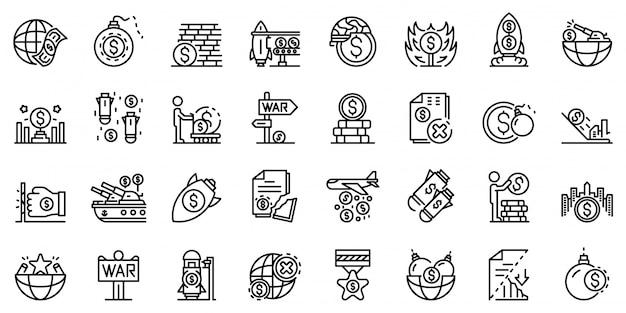 Conjunto de ícones de guerra comercial