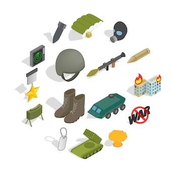 Conjunto de ícones de guerra, estilo isométrico
