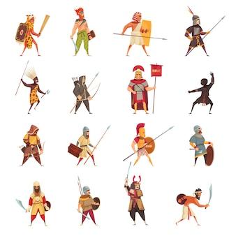 Conjunto de ícones de guerreiros antigos com armas e equipamento plano isolado