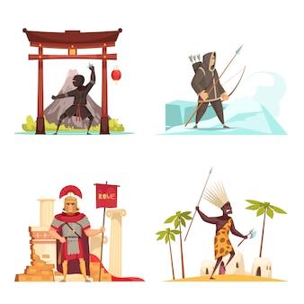 Conjunto de ícones de guerreiros antigos com armas nacionais planas