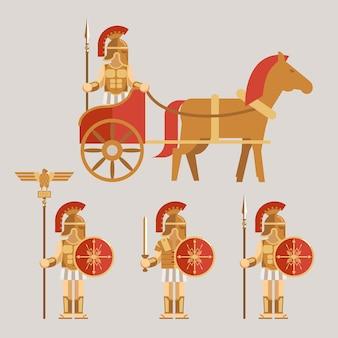 Conjunto de ícones de guerreiros antigos. guerreiro na carruagem com lança e guerreiro com espada e escudo. ilustração vetorial