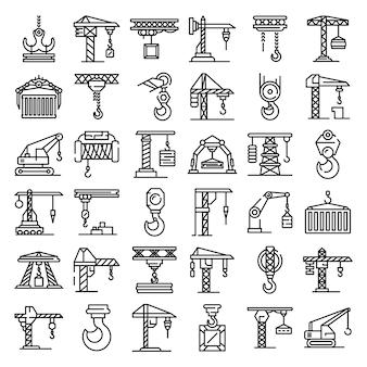 Conjunto de ícones de guindaste, estilo de estrutura de tópicos