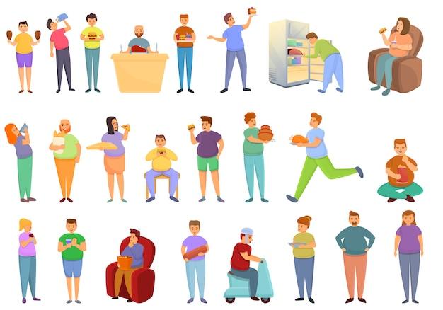 Conjunto de ícones de gula, estilo cartoon