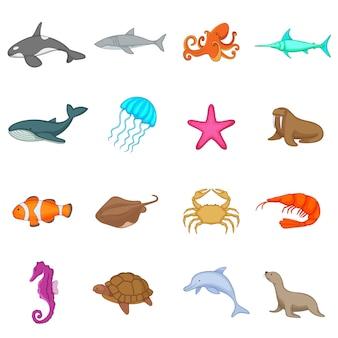 Conjunto de ícones de habitantes do oceano