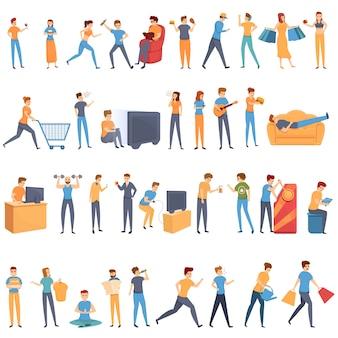Conjunto de ícones de hábito, estilo cartoon