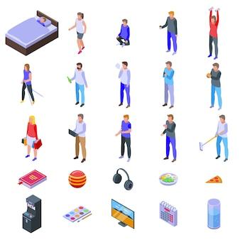 Conjunto de ícones de hábito, estilo isométrico