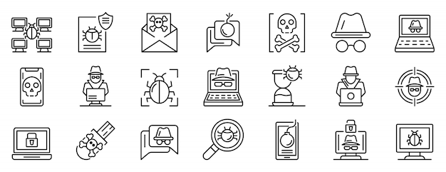 Conjunto de ícones de hacker, estilo de estrutura de tópicos