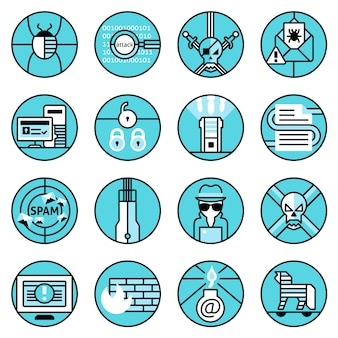 Conjunto de ícones de hacker linha azul