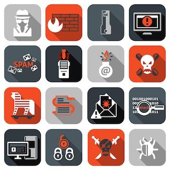 Conjunto de ícones de hacker plano