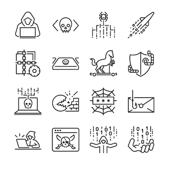 Conjunto de ícones de hacker.