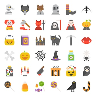 Conjunto de ícones de halloween assustador