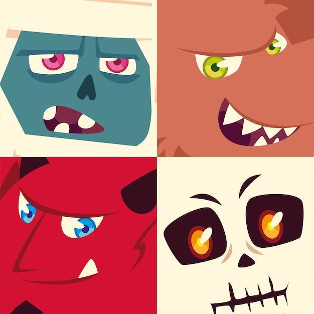 Conjunto de ícones de halloween com cabeças de múmia, fantasma, esqueleto e demônio