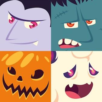 Conjunto de ícones de halloween com cabeças de vampiro, frankenstein, lobisomem, abóbora