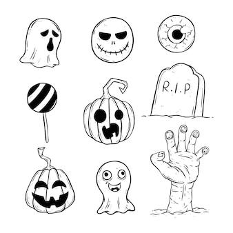 Conjunto de ícones de halloween com estilo doodle