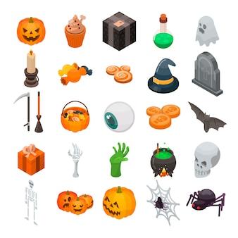 Conjunto de ícones de halloween. conjunto isométrico de ícones de vetor de halloween para web design isolado no fundo branco