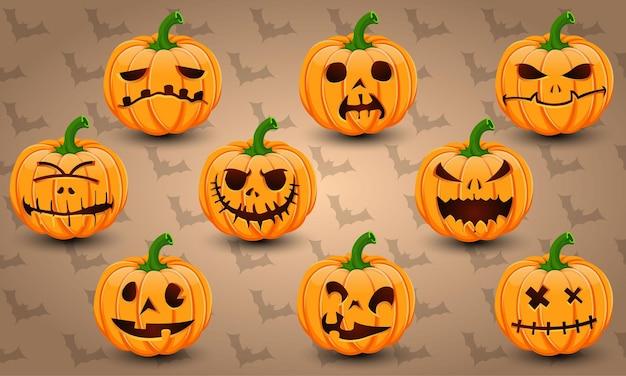 Conjunto de ícones de halloween do vetor de abóboras