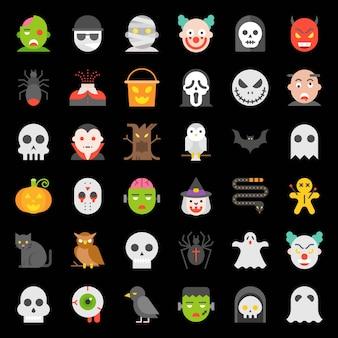 Conjunto de ícones de halloween em design plano