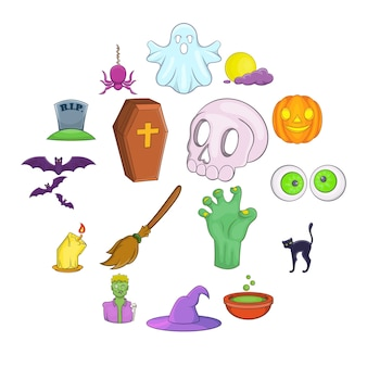 Conjunto de ícones de halloween, estilo cartoon