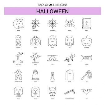 Conjunto de ícones de halloween line - 25 estilo de contorno esboçado