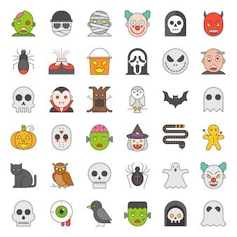 Conjunto de ícones de halloween na cor cheia