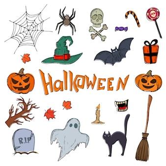 Conjunto de ícones de halloween.