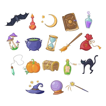 Conjunto de ícones de haloween e jogo