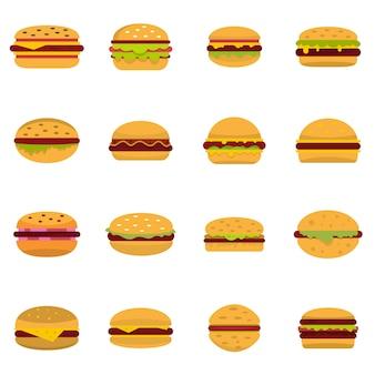 Conjunto de ícones de hambúrguer