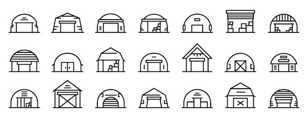 Conjunto de ícones de hangar, estilo de estrutura de tópicos