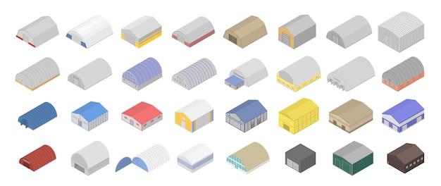 Conjunto de ícones de hangar, estilo isométrico