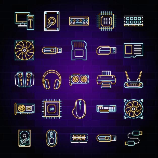 Conjunto de ícones de hardware de luz de néon