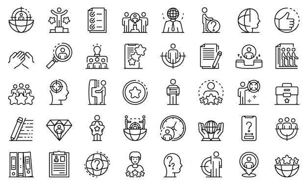 Conjunto de ícones de headhunter, estilo de estrutura de tópicos