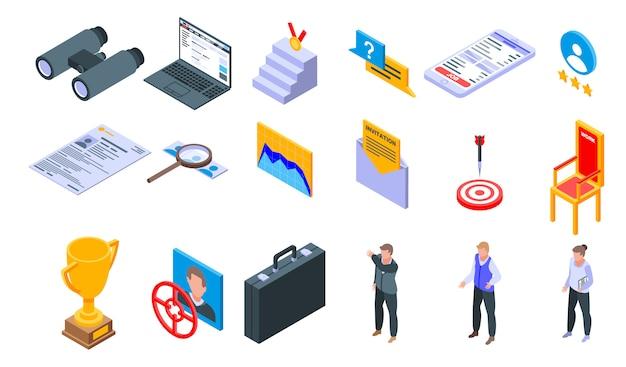 Conjunto de ícones de headhunter, estilo isométrico