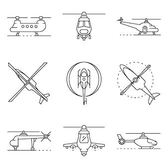 Conjunto de ícones de helicóptero. conjunto de contorno de ícones do vetor de helicóptero