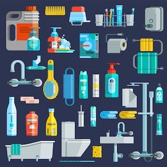 Conjunto de ícones de higiene colorida plana
