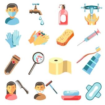 Conjunto de ícones de higiene e sanitárias.