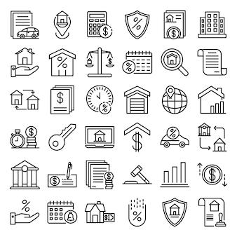 Conjunto de ícones de hipoteca, estilo de estrutura de tópicos