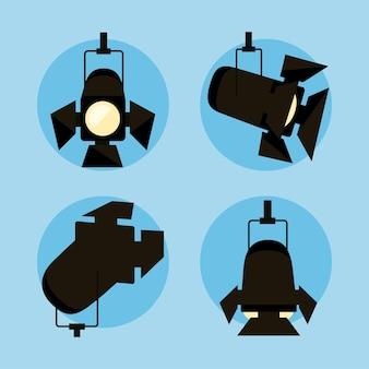 Conjunto de ícones de holofotes