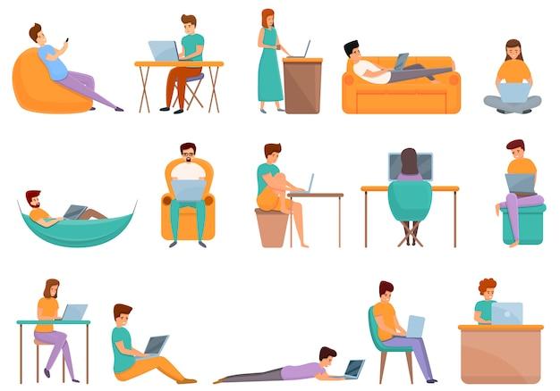 Conjunto de ícones de home office, estilo desenho animado