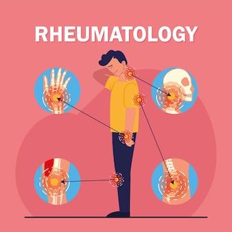 Conjunto de ícones de homem com dor de reumatologia
