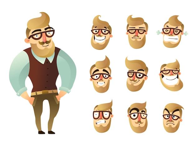 Conjunto de ícones de homem de emoções