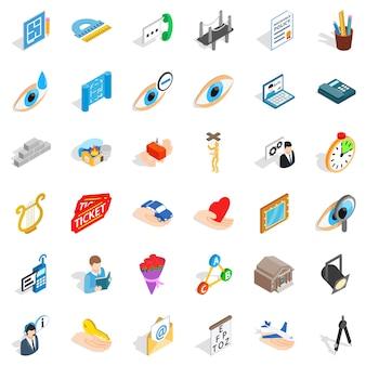 Conjunto de ícones de homem de trabalho, estilo isométrico