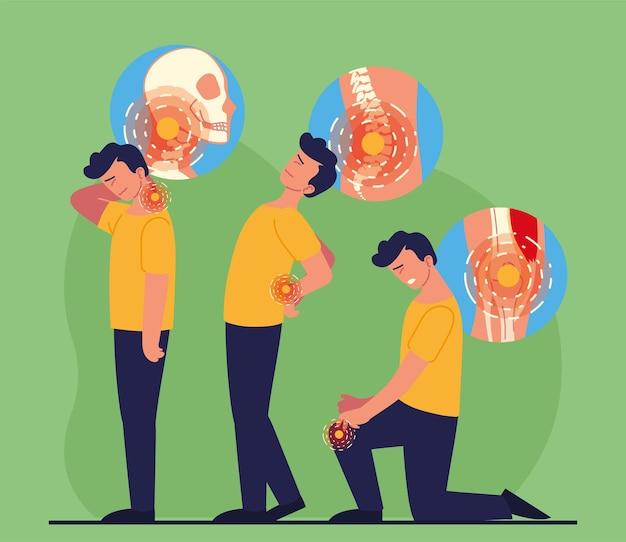 Conjunto de ícones de homens com dor de reumatologia