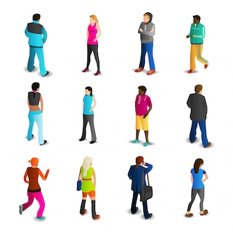 Conjunto de ícones de homens e mulheres
