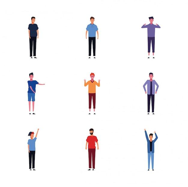 Conjunto de ícones de homens vestindo roupas casuais