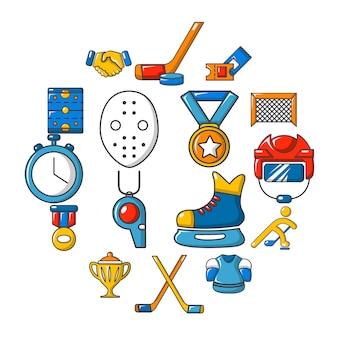 Conjunto de ícones de hóquei, estilo cartoon